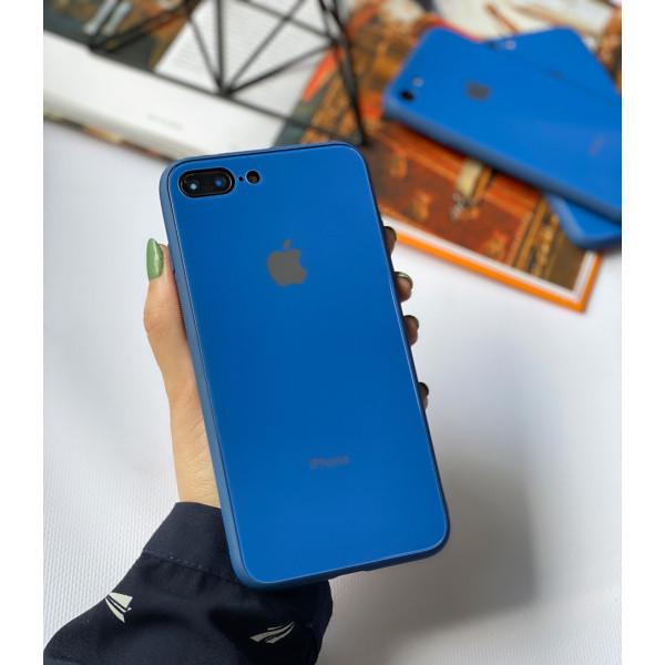 Чехол Glass Pastel color Logo для iPhone 7 Plus / 8 Plus (Blue)