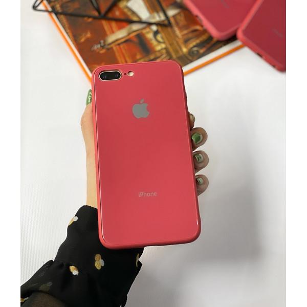 Чехол Glass Pastel color Logo для iPhone 7 Plus / 8 Plus (Camellia)