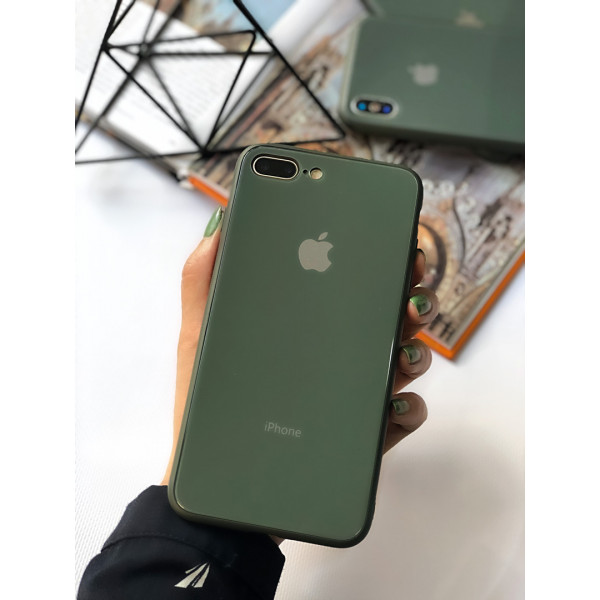 Чехол Glass Pastel color Logo для iPhone 7 Plus / 8 Plus (Forest Green)