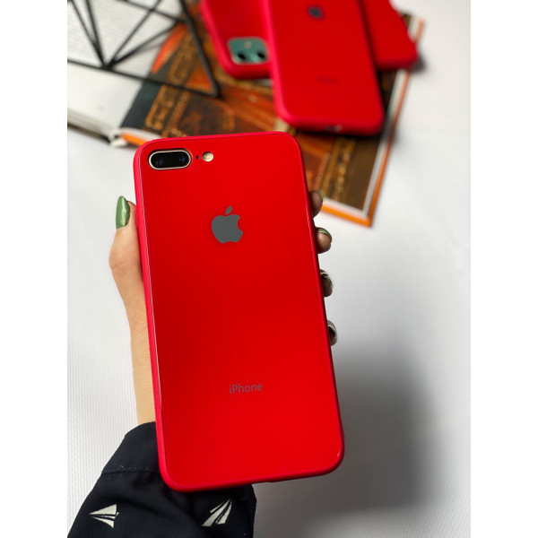 Чехол Glass Pastel color Logo для iPhone 7 Plus / 8 Plus (Red)