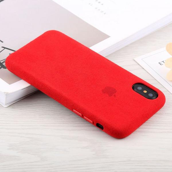 Замшевый чехол для iPhone XR Alcantara (Red)