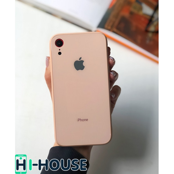 Чехол Glass Pastel color Logo для iPhone XR (Pink Sand)