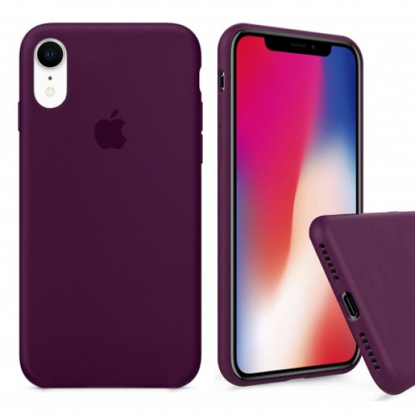 Чехол Silicone Case Full для iPhone XR (Marsala)