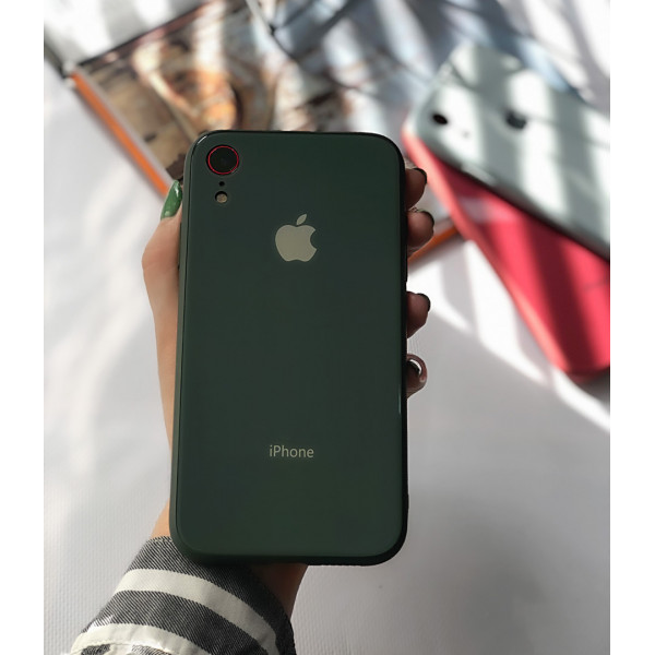 Чехол Glass Pastel color Logo для iPhone XR (Forest Green)