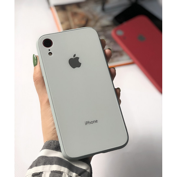 Чехол Glass Pastel color Logo для iPhone XR (Mist Blue)