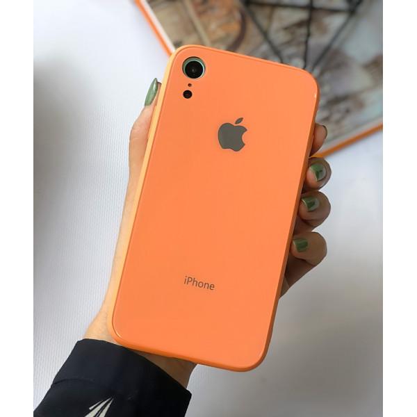 Чехол Glass Pastel color Logo для iPhone XR (Peach)