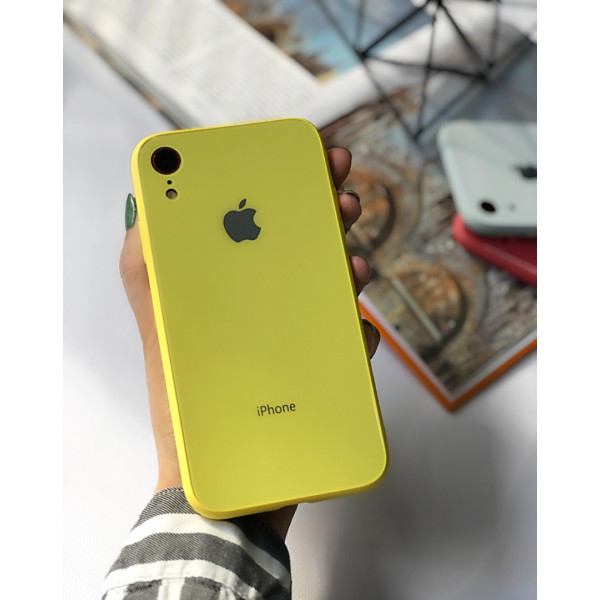 Чехол Glass Pastel color Logo для iPhone XR (Yellow)