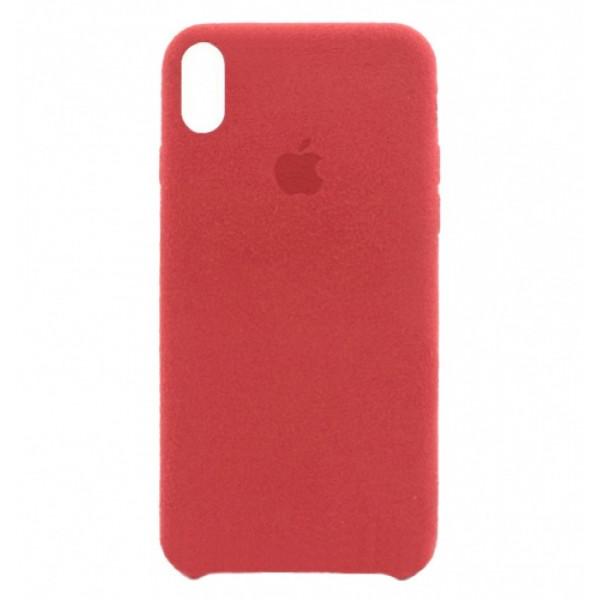 Замшевый чехол для iPhone XS Max Alcantara (Red)