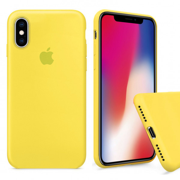 Чехол Silicone Case Full для iPhone XS / X (Canary Yellow)