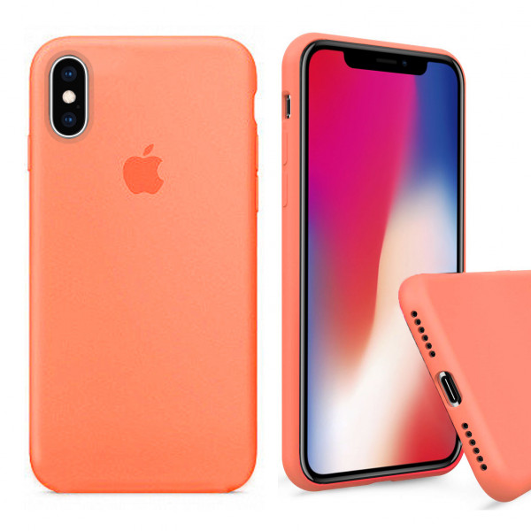 Чехол Silicone Case Full для iPhone XS / X (Papaya)