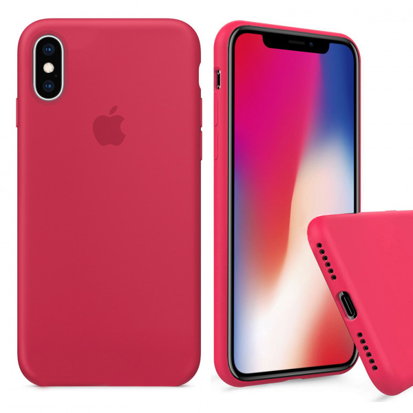 Чехол Silicone Case Full для iPhone XS / X (Red Raspberry)