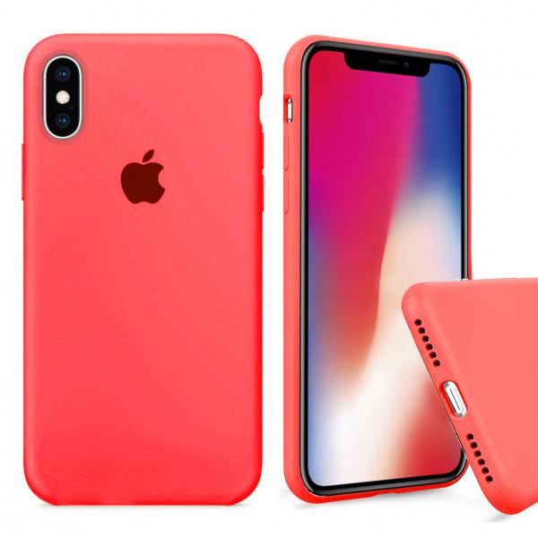 Чехол Silicone Case Full для iPhone XS / X (Electric Pink)