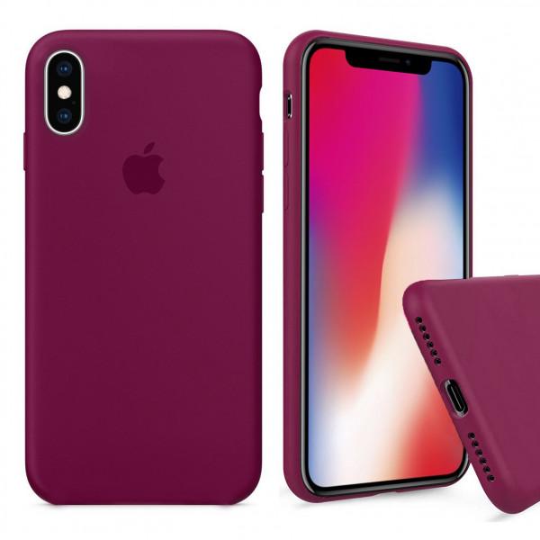 Чехол Silicone Case Full для iPhone XS / X (Rose Red)