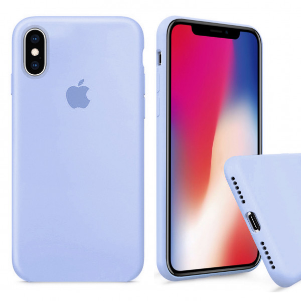 Чехол Silicone Case Full для iPhone XS / X (Sea Blue)