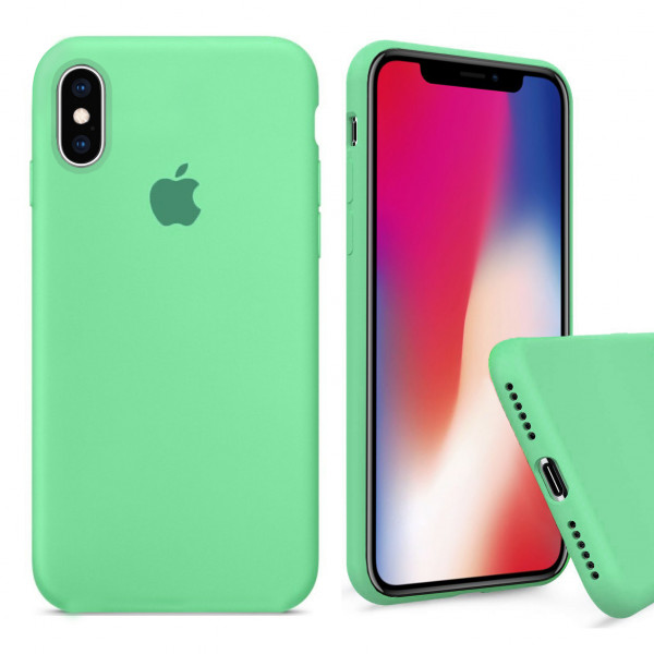 Чехол Silicone Case Full для iPhone XS / X (Spearmint)