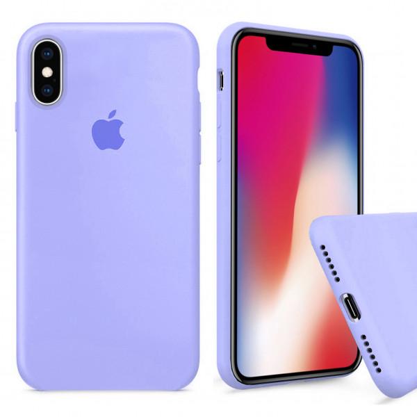 Чехол Silicone Case Full для iPhone XS / X (Lilac Cream)