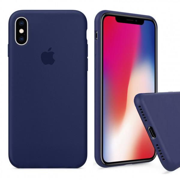 Чехол Silicone Case Full для iPhone XS / X (Midnight Blue)