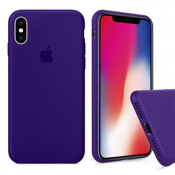 Чехол Silicone Case Full для iPhone XS / X (Ultra Violet)