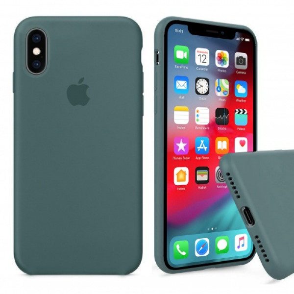 Чехол Silicone Case Full для iPhone XS Max (Pine Green)