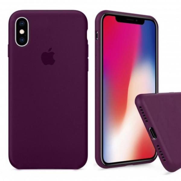 Чехол Silicone Case Full для iPhone XS / X (Marsala)