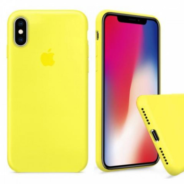 Чехол Silicone Case Full для iPhone XS / X (Yellow)
