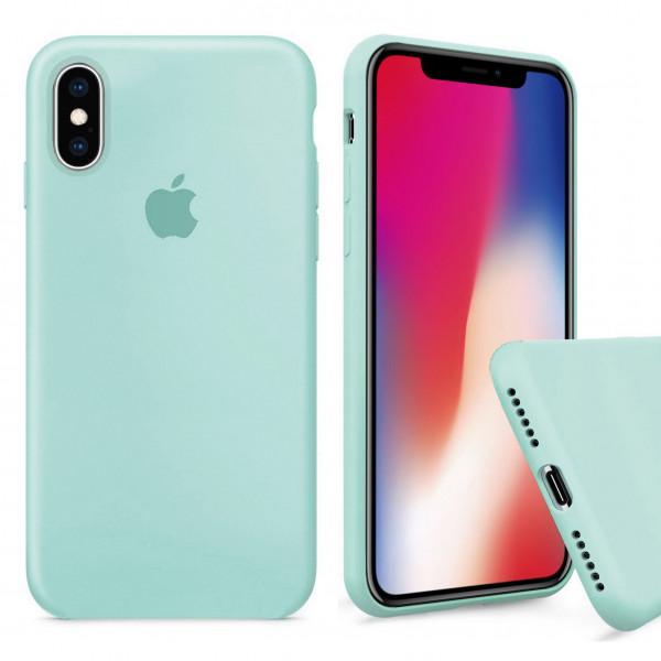 Чехол Silicone Case Full для iPhone XS / X (Mint)