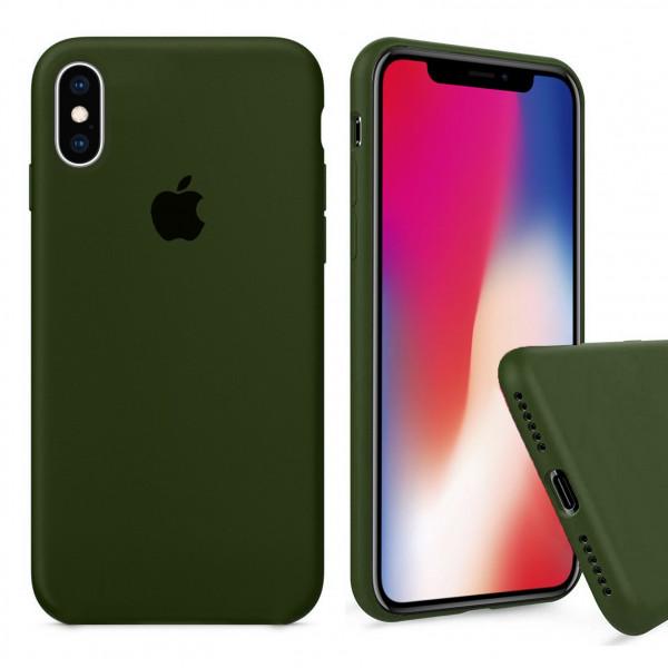Чехол Silicone Case Full для iPhone XS / X (Oliva)
