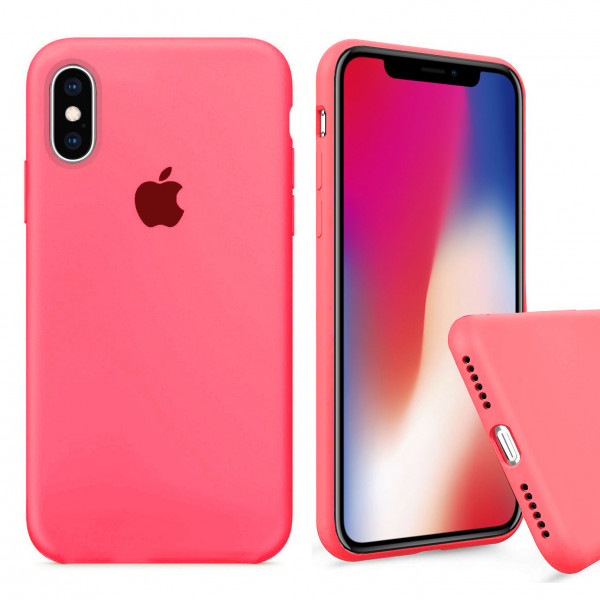 Чехол Silicone Case Full для iPhone XS / X (Coral)