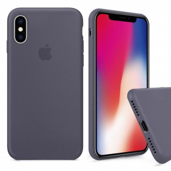 Чехол Silicone Case Full для iPhone XS Max (Lavender Gray)