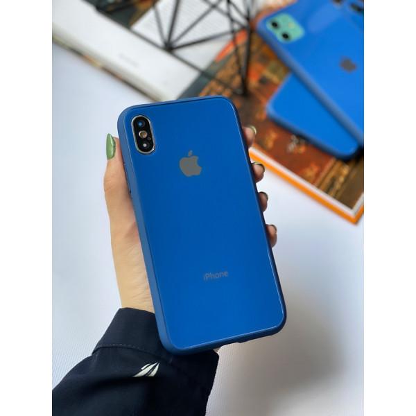 Чехол Glass Pastel color Logo для iPhone XS / X (Blue)