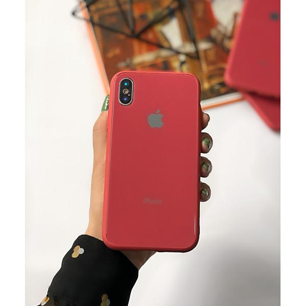 Чехол Glass Pastel color Logo для iPhone XS / X (Camellia)