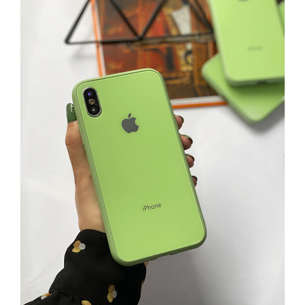 Чехол Glass Pastel color Logo для iPhone XS Max (Mint)
