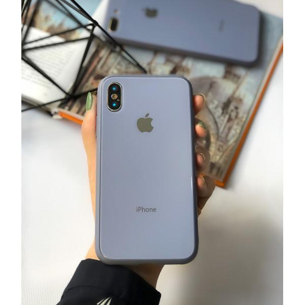 Чехол Glass Pastel color Logo для iPhone XS / X (Lavender Gray)