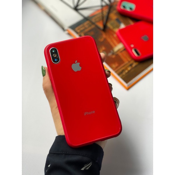 Чехол Glass Pastel color Logo для iPhone XS Max (Red)