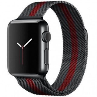 Ремешок Milanese Loop 38mm/40mm Black&Red для Apple Watch Series 1/2/3/4