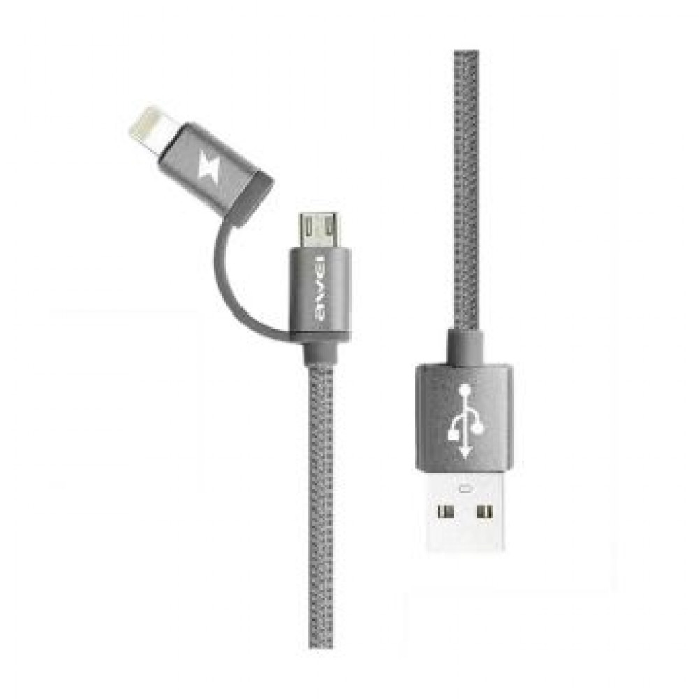 Awei Кабель 2 в 1 Lightning/microUSB - USB (cl-930) Серый
