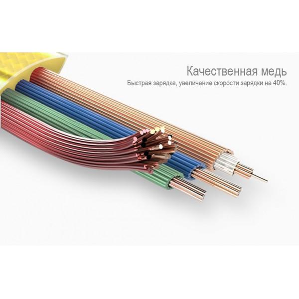 Кабель Hoco U9 Zinc Alloy Jelly Knitted Lightning Сable (Rose Gold) 0,6m