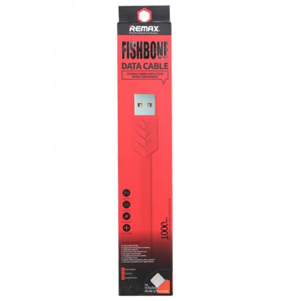 Кабель Remax Fishbone Lightning-USB Red