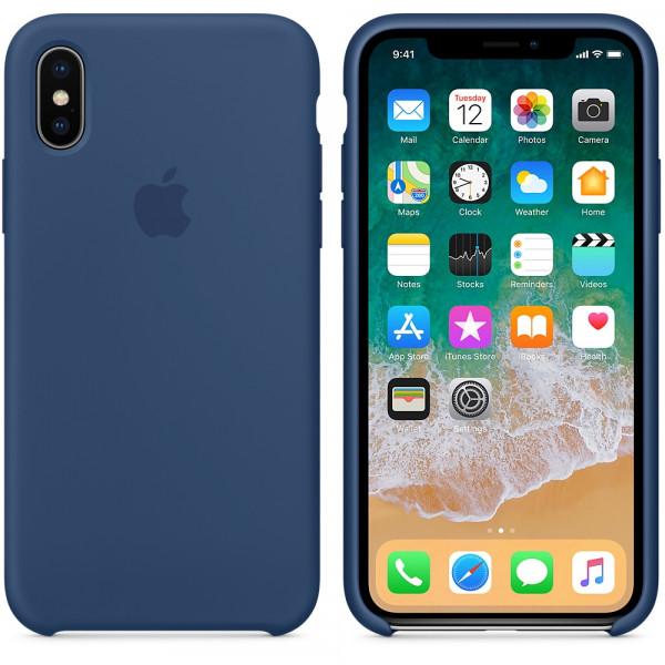 Чехол Apple Silicone Case для iPhone X / XS (Blue Cobalt) Original (MQT42)