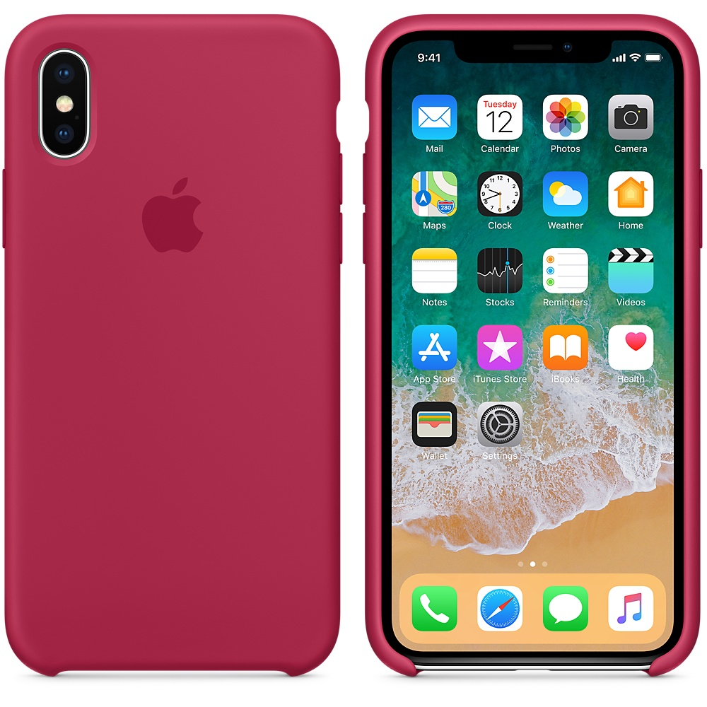 Чехол Apple Silicone Case для iPhone X Rose Red Original (MQT82)