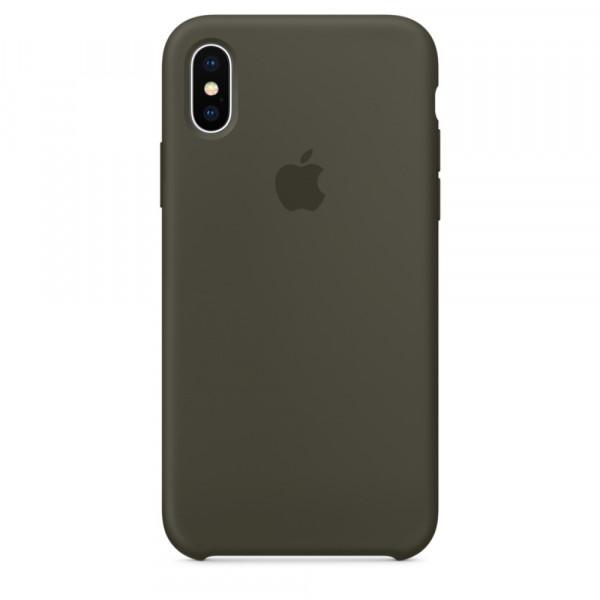 Чехол Apple Silicone Case для iPhone X / XS (Dark Olive) Original (MR522)