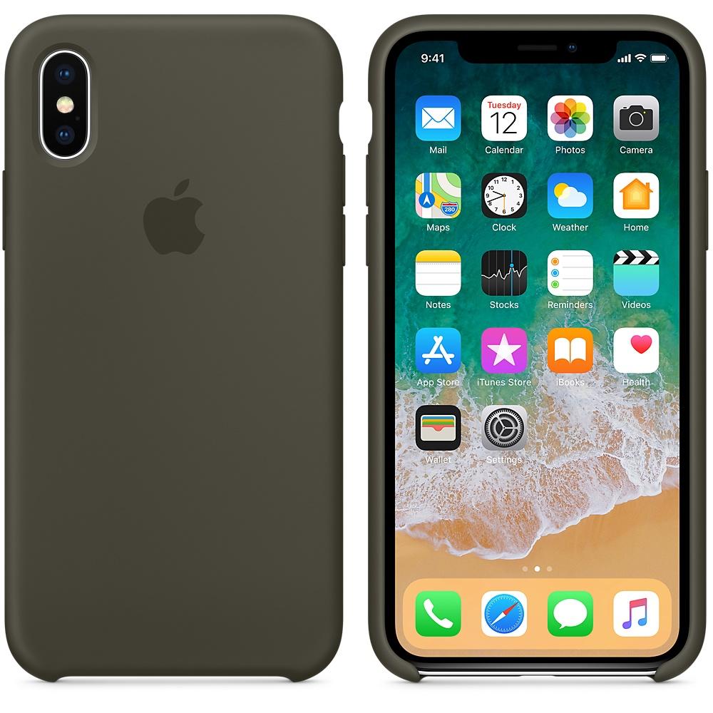 Чехол Silicone Case для iPhone X / XS (Dark Olive) OEM