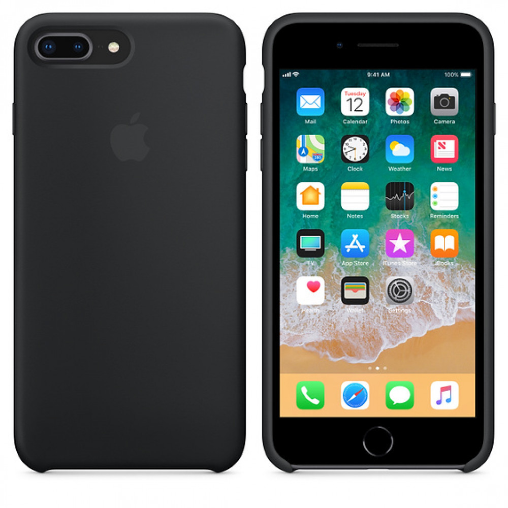 Чехол Silicone Case для iPhone 7 Plus/8 Plus Black OEM