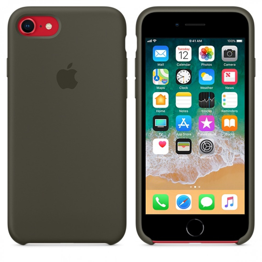 Чехол Silicone Case на iPhone 7 / 8 / SE (2020) Dark Olive OEM