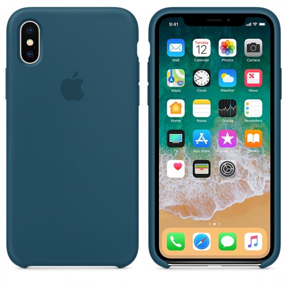 Чехол Apple Silicone Case для iPhone X / XS (Cosmos Blue) Original (MR6G2)