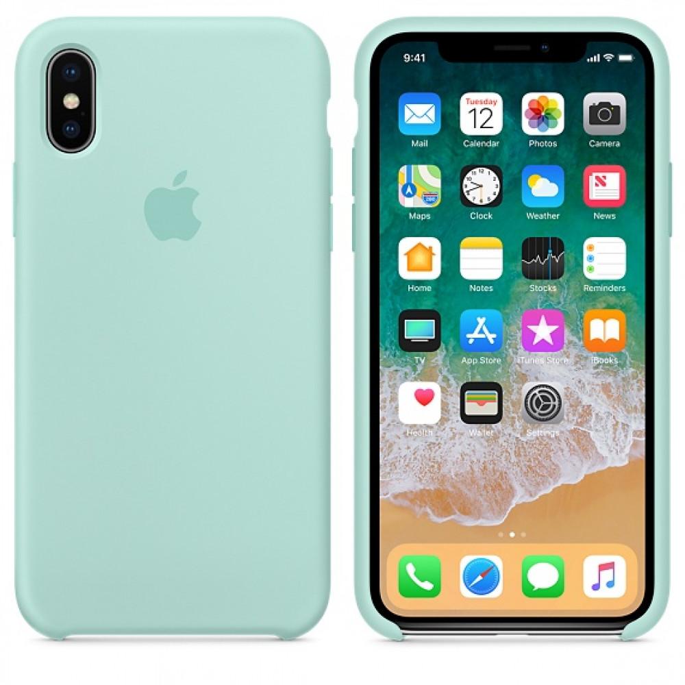 Чехол Apple Silicone Case для iPhone X / XS (Marine Green) Original (MRRE2)