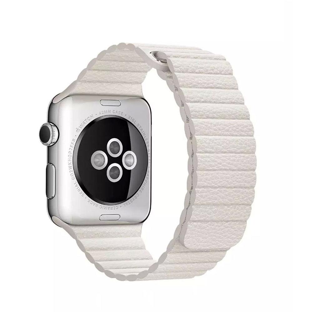 Кожаный ремешок Apple (White)