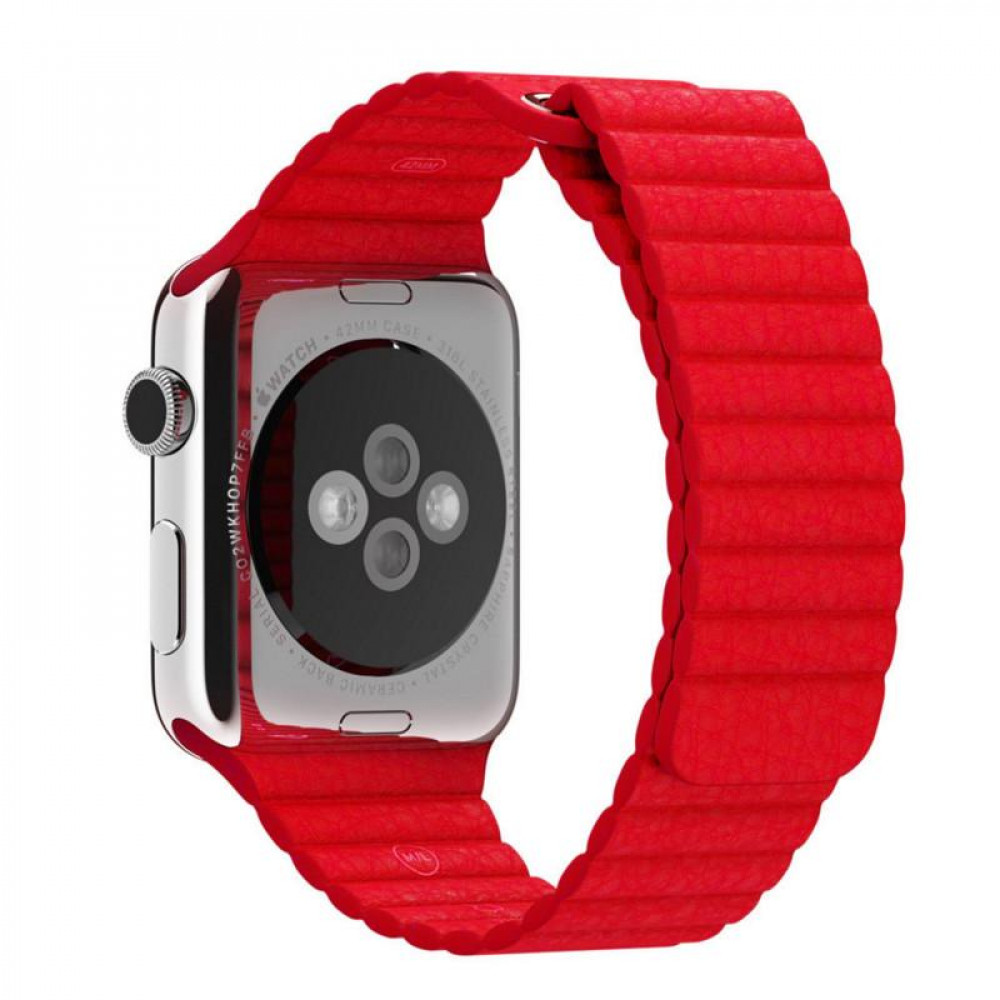 Кожаный ремешок Apple (Red)