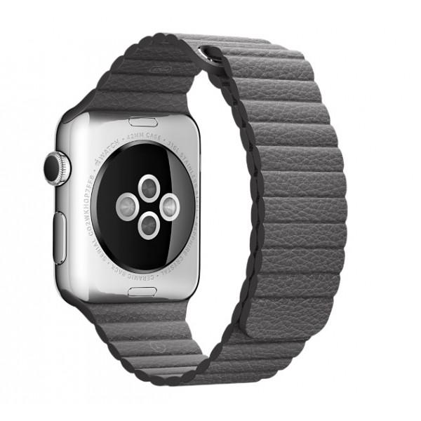 Кожаный ремешок Apple (Dark Grey)