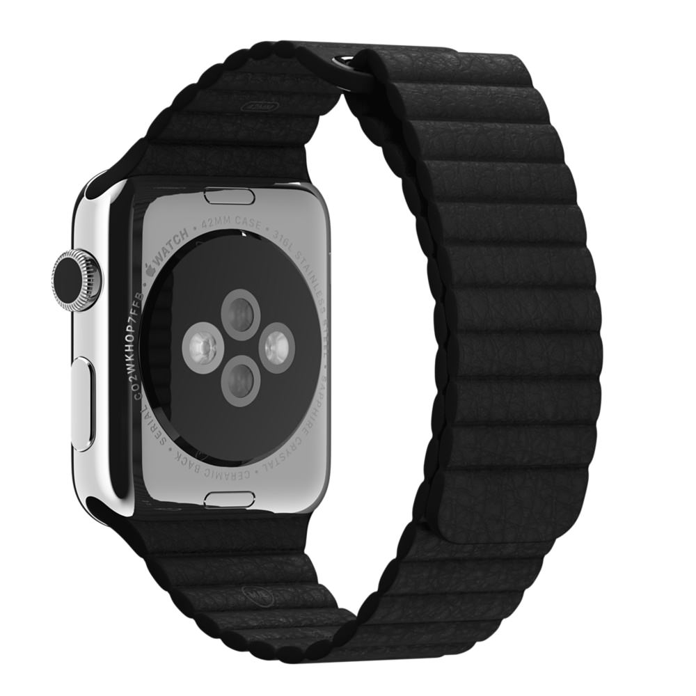 Кожаный ремешок Apple (Black)